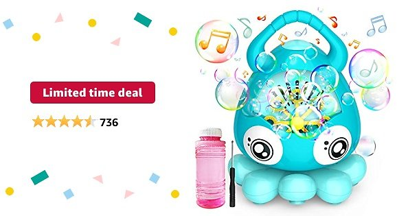 Limited-time Deal: Hamdol Bubble Machine Automatic Bubble Blower, Portable Music Bubble Maker for Toddlers Kids with 3000+ Bubbles/min, 100ml Solution, Bubble Toys for Boys Girls Age 3+ Outdoor Indoor Parties