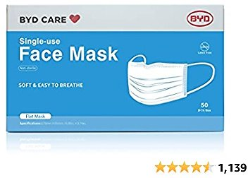 BYD CARE Single Use Disposable 3-Ply Face Mask, Daily Protection for Men and Women for Home, Office, School, Restaurants, Gyms, Outdoor and Indoor, Box of 50 PCs