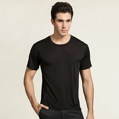 Pure Silk Knitted Mens Crewneck Short Sleeves Solid US S M L XL