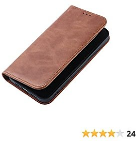 Leather Wallet Case for IPhone 12 or Pro (Real Cowhide Leather) - Retro Oil Wax Leather Flip Folio Case Cover with Credit Card Holder for IPhone 12 or Pro(Brown)