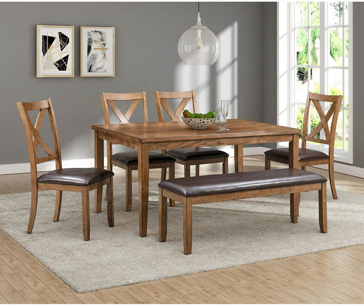 Reese 6-Piece Wood Dining Set with Bench