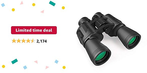 Limited-time Deal: 20x50 High Power Military Binoculars, Compact HD Professional/Daily Waterproof Binoculars Telescope for Adults Bird Watching Travel Hunting Football-BAK4 Prism FMC Lens-with Case and Strap (20X50)