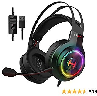 Edifier G4 TE Gaming Headset for PC, PS4, 7.1 Surround Sound Gaming Headphones with Noise Canceling Microphone, USB Over-Ear Headphone Wired with RGB Light, 50mm Driver for PC Mac, Laptop,Black