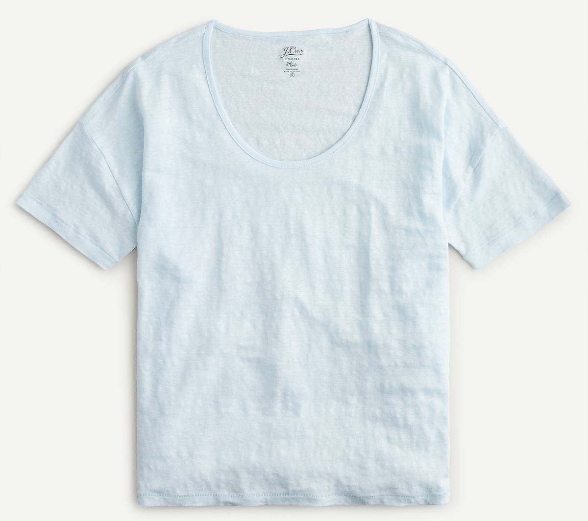 Relaxed Linen Scoopneck T-shirt (2 Colors)
