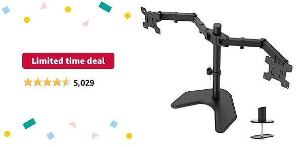Limited-time Deal: WALI Free Standing Dual LCD Monitor Fully Adjustable Desk Mount Fits 2 Screens Up to 27 Inch, 22 Lbs. Weight Capacity Per Arm, with Grommet Base (MF002), Black