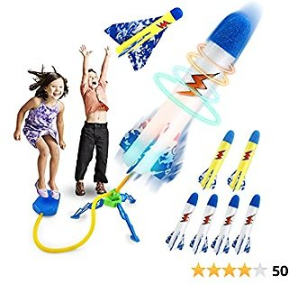 Craghill Jump Rocket Launchers for Kids, Outdoor Rocket Toys with 5 LED Foam Rockets and 2 Yellow Rockets and 1 Air Plane, Birthday Gift Toys for Boys Girls Toddlers Age 3 4 5 6 and Up