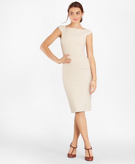 Double-Weave Square-Neck Sheath Dress - Brooks Brothers