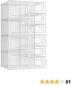 SONGMICS Shoe Boxes, 6 Small Size and 4 Large Size, Set of 10 Shoe Storage Organizers, Containers, Stackable and Foldable for Sneakers, Transparent ULSP010W01