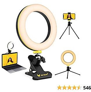 """6.3"""" Ring Light, Oldshark Desk Selfie Ring Light with Clamp Mount and Tripod Stand Phone Holder for Laptop Computer, for YouTube Video, Makeup, Selfie, Photography, Live Streaming, Tiktok"""