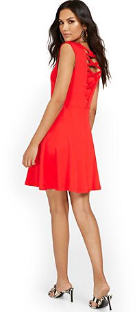 Lattice-Back Sleeveless Fit and Flare Dress - City Knits (6 Colors)