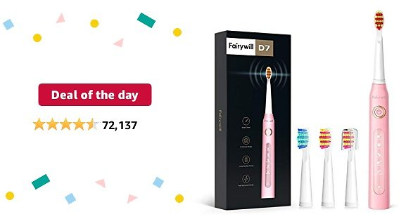 Deal of The Day: Fairywill UltraSonic Powered Electric Toothbrush ADA Accepted with 5 Modes, Smart Timer, 4 Brush Heads, Fully Rechargeable with One 4 Hr Charge Last 30 Days, Whitening Toothbrush Pink
