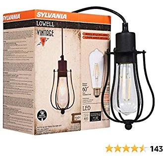 LEDVANCE 75513 Sylvania 75512 Lowell Cage Pendant Light, LED, Dimmable Bulb Included Vintage Fixture, Antique Black