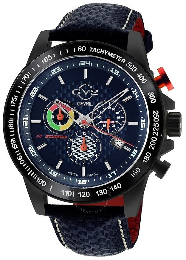 90% Off GV2 By Gevril Scuderia Chronograph Tachymeter Blue Dial Men's Watch