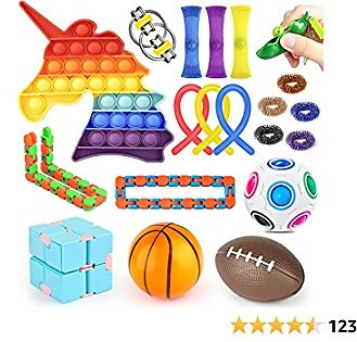 Fidget Toys Set ,Push Pop Bubble Fidget Sensory Toy and Stress Relief Anti-Anxiety Fidget Pack Toys for Kids Adults ADHD ADD Anxiety Autism, for Birthday Favors,Rewards,Carnival,Goodie Bag Fillers