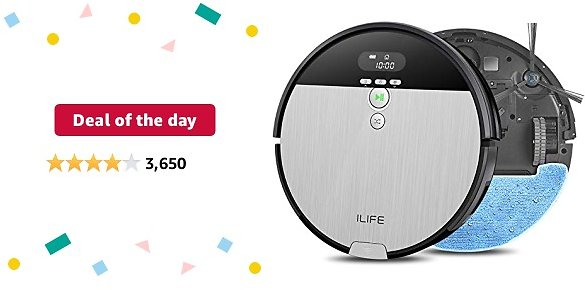 Deal of The Day: ILIFE V8s, 2-in-1 Robot Vacuum and Mop, Big 750ml Dustbin,Enhanced Suction Inlet,Zigzag Cleaning Path,Ideal for Pet Hair,Self-Charging Robotic Vacuum, LCD Display,Schedule,Ideal for Hard Floor