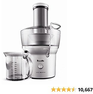 Breville BJE200XL Juice Fountain Compact Centrifugal Juicer, Silver, 10