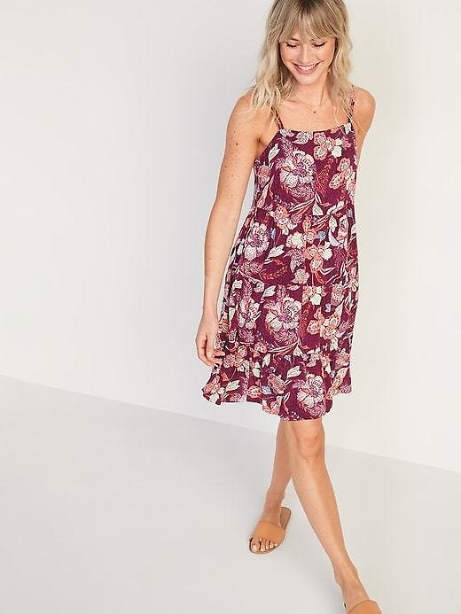 Sleeveless Tiered Floral-Print Swing Dress for Women   Old Navy