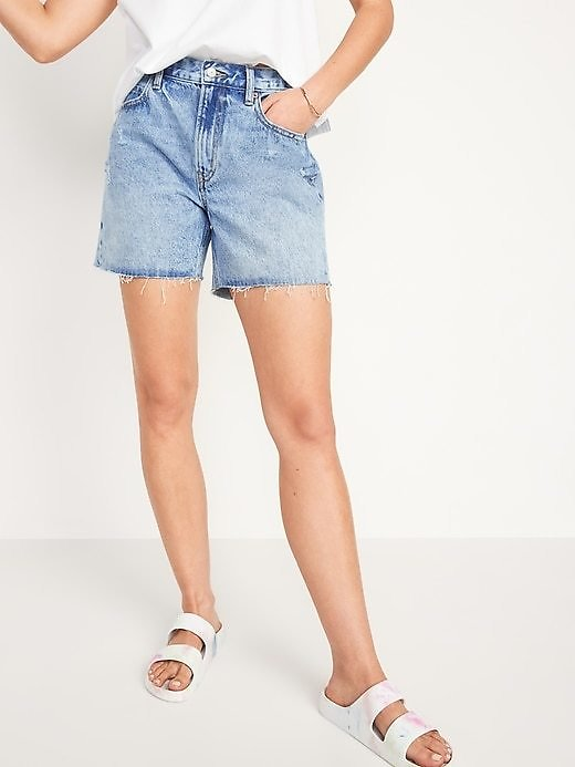High-Waisted Slouchy Cut-Off Jean Shorts for Women - 5-inch Inseam | Old Navy