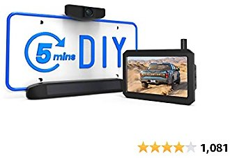 AUTO-VOX Solar Wireless Backup Camera, 5 Mins DIY Installation, 5 Inch HD Monitor with Digital Wireless Signal and HD Image Waterproof Rear View Camera for Trucks,Car,SUV