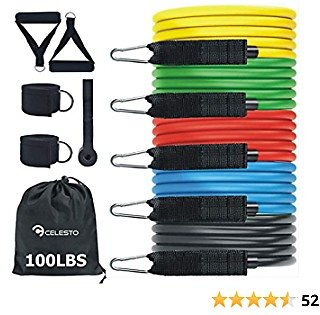 CELESTO 11 Pcs Resistance Bands Set, Workout Bands for Resistance Band Training with Handles, Anchor, Carry Bag, Legs Ankle Straps, Home Workout for Home Gym, Physical Therapy