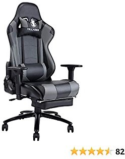 Massage Gaming Chair with Footrest Grey Ergonomic Floor Reclining ComputerGaming Chair Desk Chair Big and Tall High Back with Headrest & Lumbar Support for Adults