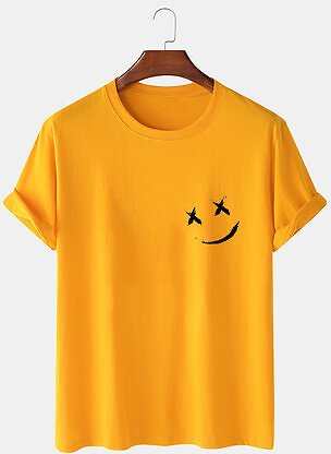 Mens Smile Chest Print O-Neck Casual Loose Short Sleeve T-Shirt
