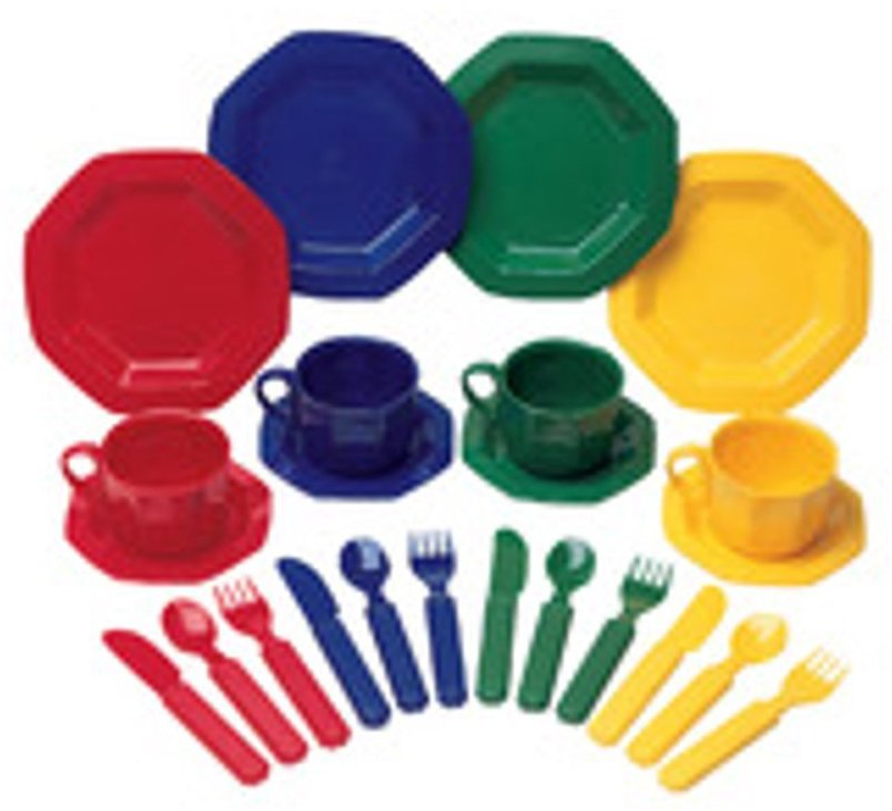 Learning Resources Pretend & Play Dish Set, Assorted Colors, 24 Pieces