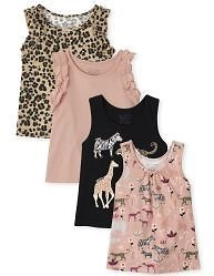 Toddler Girls Mix And Match Sleeveless Print And Ruffle Tank Top 4-Pack | The Children's Place