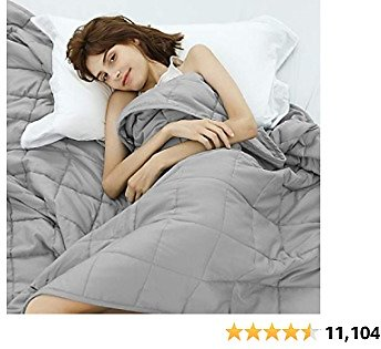 Weighted Idea Weighted Blanket 15 Lbs 48''x78'' for Adult Woman and Man (Soft Fabric, Light Grey)