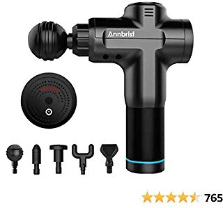 Portable Massage Gun, Annbrist Handheld Cordless Quiet Massager, Brushless Motor, Relieves Muscle Tension and Pain