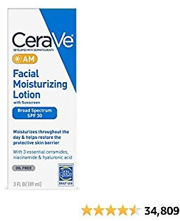 CeraVe AM Facial Moisturizing Lotion SPF 30   Oil-Free Face Moisturizer with Sunscreen   Non-Comedogenic   3 Ounce