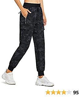 MASKERT Women's Cargo Joggers Quick Dry Lightweight Hiking Pants with Pockets for Lounge Casual Workout Outdoor Athletic