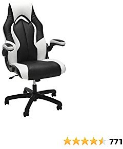 OFM Essentials Collection High-Back Racing Style Bonded Leather Gaming Chair, in White