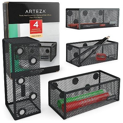 Arteza Mesh Magnetic Organizers, Black, for Office, Home, or Classroom - 4 Pack (ARTZ-8943)