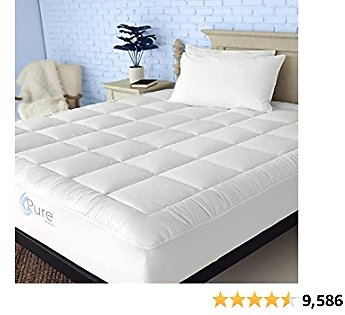 Pure Brands Queen Mattress Topper and Pad Cover Extra Thick Luxury Down Alternative Pillow Top Cooling Bed Topper Ultra Plush and Hypoallergenic Mattress Protector 18 Inch Deep Pocket