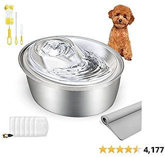 ORSDA Cat Water Fountain Stainless Steel, 100oz/3L Pet Fountain Dog Water Dispenser, Ultra-Quiet Automatic Cat Drinking Fountains with 6 Carbon Filters & 1 Silicone Mat for Cats, Small and Medium Dogs