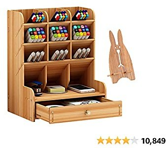 Marbrasse Wooden Pen Organizer, Multi-Functional DIY Pen Holder Box, Desktop Stationary, Easy Assembly, Home Office Art Supplies Organizer Storage with Drawer (B11-Cherry Color)