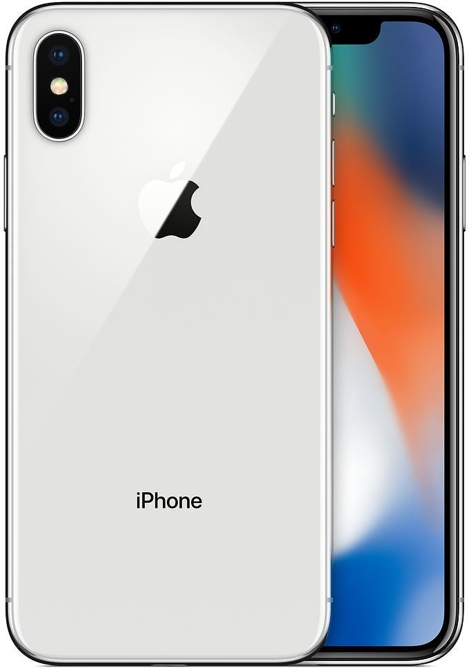 SAVE $350 ! IPhone X 64GB - Silver (Unlocked) + EarPods with Lightning Connector+ Lightning to USB Cable - Apple   Refurbished