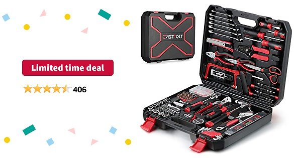 Limited-time Deal: 218-Piece Household Tool Kit,Auto Repair Tool Set, EASTVOLT Tool Kits for Homeowner, General Household Hand Tool Set with Hammer, Plier, Screwdriver Set, Socket Kit, with Carrying Tool Box, EVHT21801