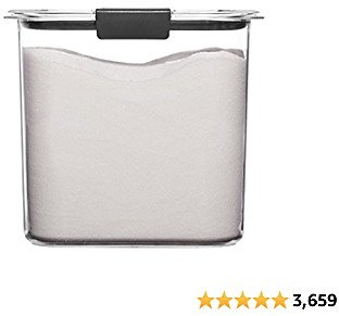Rubbermaid 1994227 Container, BPA-Free Plastic, Clear Brilliance Pantry Airtight Food Storage, Open Stock, Sugar (12 Cup)