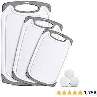 Ligttle Plastic Cutting Board Set of 3, BPA Free Kitchen Cutting Boards with Juice Grooves and Easy Grip Handle, Dishwasher Safe & Non-Porous