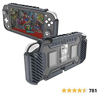 KIWIHOME Grip Case Cover for Switch Lite, TPU Protective Hard Case Accessories Compatible with Switch Lite Console 2019 with Cat Claw Design Thumb Grip Caps and Game Card Slots (Gray)