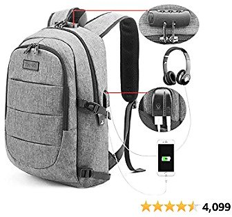 Tzowla Travel Laptop Backpack,Slim Durable Water Resistant Anti-Theft Bag with USB Charging/Headphone Port and Lock 15.6-17.3 Inch Computer Business Gift for Women Men College School Bookbag-Grey