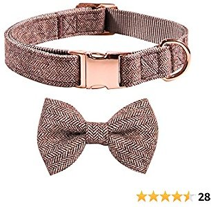 Qucey Dog and Cat Collar with Bowtie Adjustable Collars Detachable Bowtie for Small Medium Large Dogs