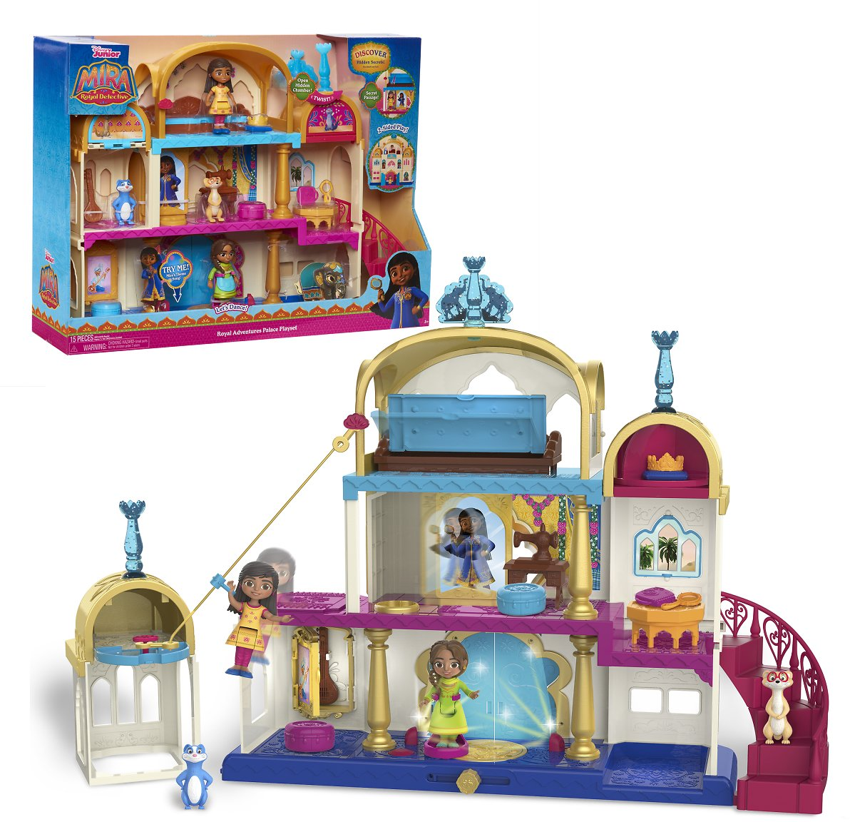 Disney Junior Royal Adventures Palace Doll Playset, 16 Pieces Included