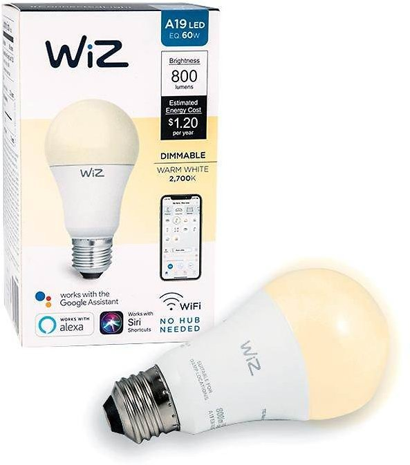 WiZ 60-Watt Equivalent A19 Dimmable Wi-Fi Connected Smart LED Light Bulb Warm White-IZ0026021
