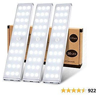 LED Closet Lights, KSQ 30 LED Super Bright Wireless Under Cabinet Lighting Rechargeable, Full Screen Illumination Under Cabinet Lights for Kitchen Wardrobe Stairs Hallway-3Pack