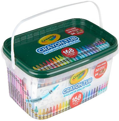 Crayola Crayon and Storage Tub, 168 Crayons, Featuring Colors of The World Crayon Colors