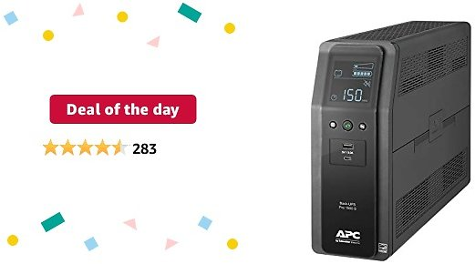 Deal of The Day: APC UPS, 1500VA Sine Wave UPS Battery Backup & Surge Protector, BR1500MS2, Backup Battery with AVR, (2) USB Charger Ports, Back-UPS Pro Uninterruptible Power Supply