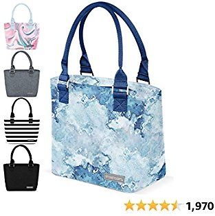 Simple Modern Insulated Adult Lunch Bag Tote Reusable Meal Container for Women, Men, Work, 4L Cara Lena, Mazarine Marble